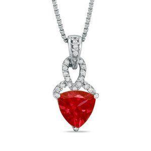 Jewelry - Heart shape red ruby gemstone with diamond pendant